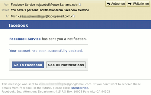 Facebook Service has send you a notification. Your account has been successfully updated. Go to Facebook. See All Notifications.