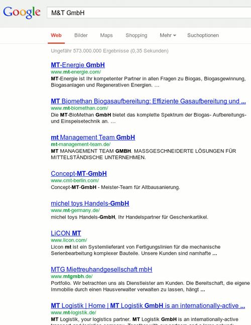 Screenshot des Google-Suchergebnisses für eine Suche nach M&T GmbH