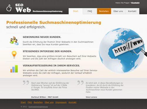 Screenshot der Website dieser Spammer, Betrüger und Idioten namens SEOweb