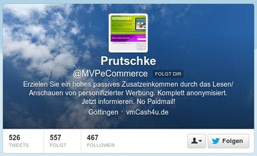 Prutschke -- @MVPeCommerce folgt Dir -- Erzielen Sie ein hohes passives Zusatzeinkommen durch das Lesen/Anschauen von personifizierter Werbung. Komplett anonymisiert. Jetzt informieren. No Paidmail! -- Göttingen -- vmCash4u.de