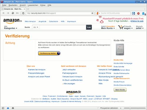 Screenshot der betrügerischen Seite zum Phishen von Amazon-Kundendaten