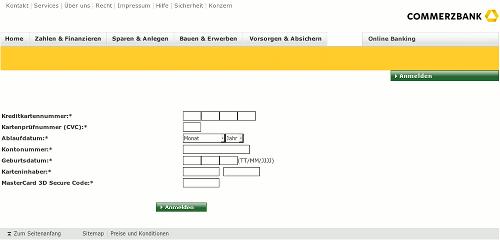 Screenshot der betrügerischen Phishing-Site, Eingabe der Kreditkartendaten