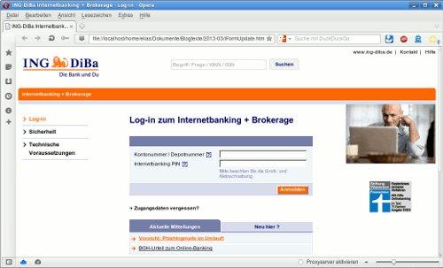 Screenshot der betrügerischen Seite aus dem Dateianhang