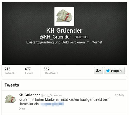 Screenshot des Twitterprofils des Followspammers mit dem Text Existenzgründung und Geld verdienen im Internet