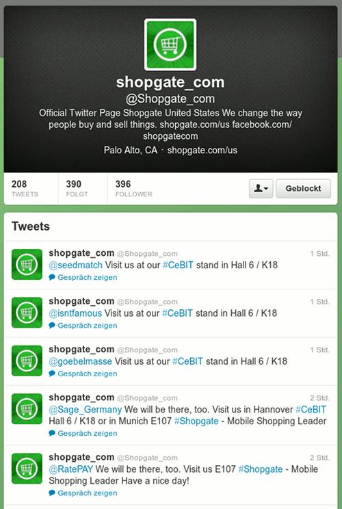 Screenshot eines Ausschnitts der Twitter-Timeline von @shopgate_com