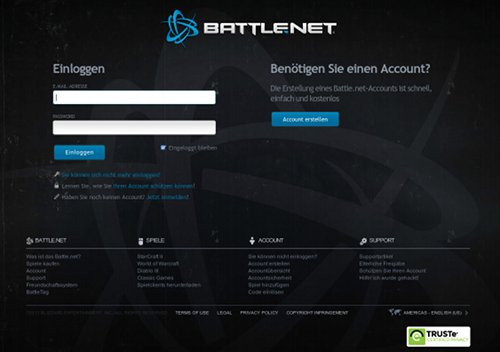 Screenshot der Phishing-Site für Battle.net
