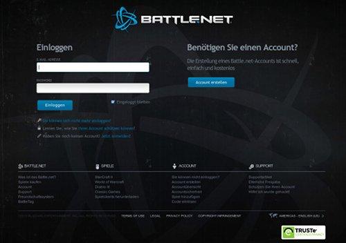 Screenshot der Phishing-Site für Battle.net
