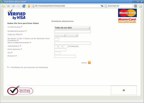 Screenshot der angehängten Phishing-Seite