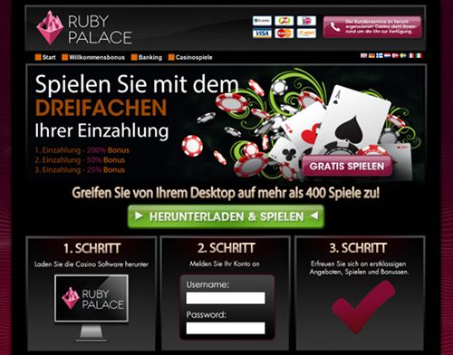 Screenshot der betrügerischen Website Ruby Palace