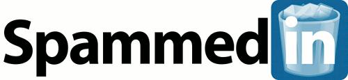 Satirische Nachbearbeitung des LinkedIn-Logos mit dem Text 'SpammedIn' und einer Mülltonne hinter dem 'in'