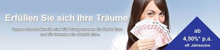 Erfüllen Sie sich ihre Träume -- Unsere Standardkredite sind für Privatpersonen bis 50.000 Euro und für Gewerbe bis 100.000 Euro