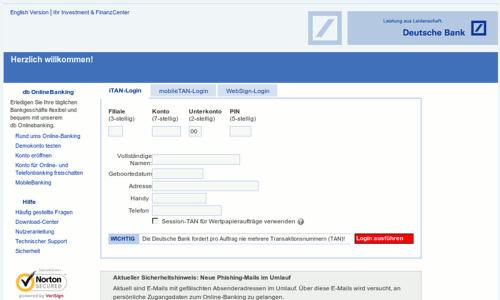 Screenshot der betrügerischen Phishing-Seite im Layout der Deutschen Bank