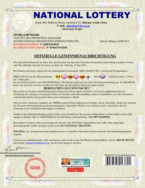 Screenshot eines typischen Vorschussbetruges mit einem angeblichen Lotteriegewinn