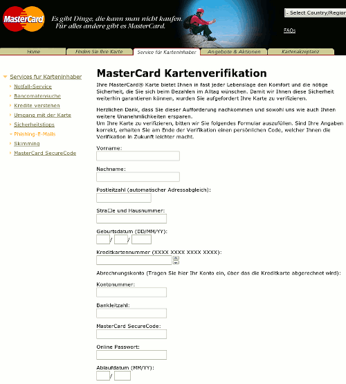 Screenshot des Phishing-Anhanges der Spam