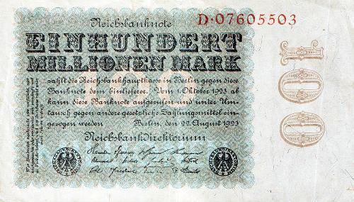 Banknote der Deutschen Reichsbank vom 22. August 1923 über 100 Millionen Mark