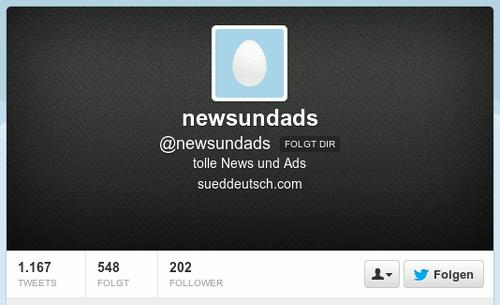 Screenshot aus dem Twitter-Kanal von @newsundads -- tolle News und Ads -- sueddeutsch punkt com