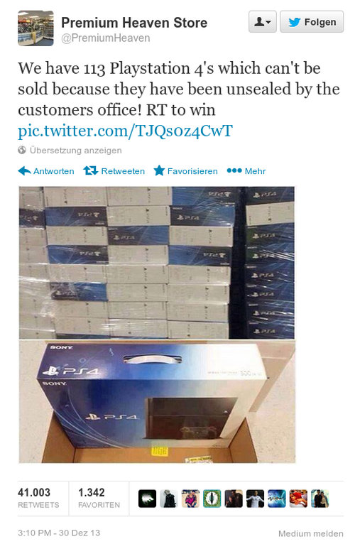 Premium Heaven Store -- @PremiumHeaven -- Wie have 113 Playstation 4's which can't be sold because they have been unsealed by the customers office! RT to win