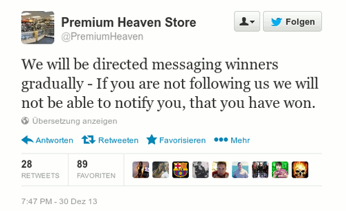 We will be directed messaging winners gradually - If you are not following us we will not be able to notify you, that you have won.