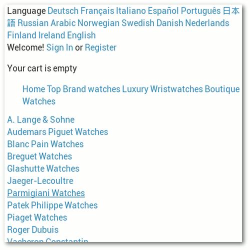 Screenshot eines Teils eines Spamkommentares, der imitierte Markenuhren in etlichen Sprachen verkaufen will