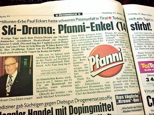 Ausschnitt 'Krone' (österreichische Zeitung): Ski-Drama: Pfanni-Enkel (14) stirbt. Darin ein großes Pfanni-Logo, es muss ja jede Gelegenheit für eine Markenwerbung genutzt werden.