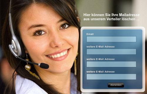 Screenshot der 'Lösch-Seite' mit der Möglichkeit, den Spammern gleich vier Mailadressen für eine angebliche 'Löschung' mitzuteilen