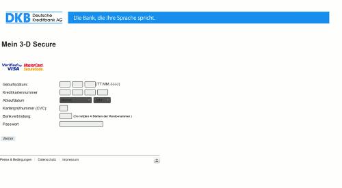Screenshot des zweiten Schritts der betrügerischen Phishing-Seite