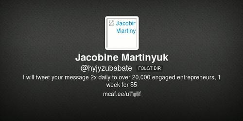 Header-Bereich des Twitter-Profils von @hyjyzubabate, mit nicht darstellbarem Profilbild und der 'Biografie': 'I will tweet your message 2x daily to over 20.000 engaged entrepreneurs, 1 week for $5'. Dazu eine URL, die unnötigerweise über einen URL-Kürzer maskiert wird.