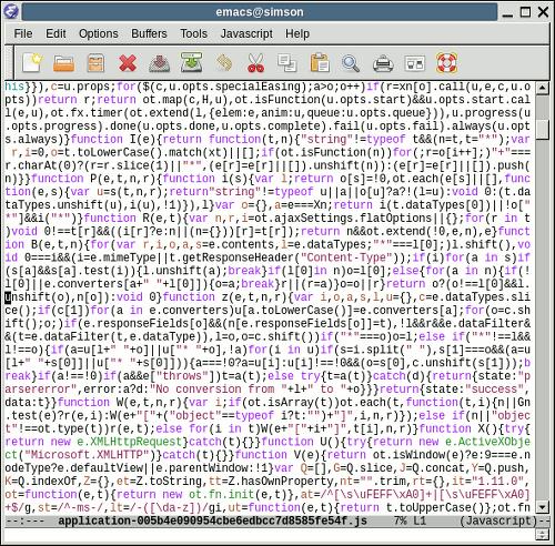 Screenshot des Editors, der die Javascript-Datei dieser Seite anzeigt
