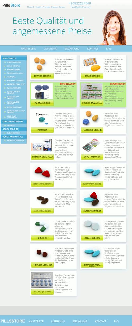 Screenshot der betrügerischen Website www (punkt) pillsstore (punkt) org