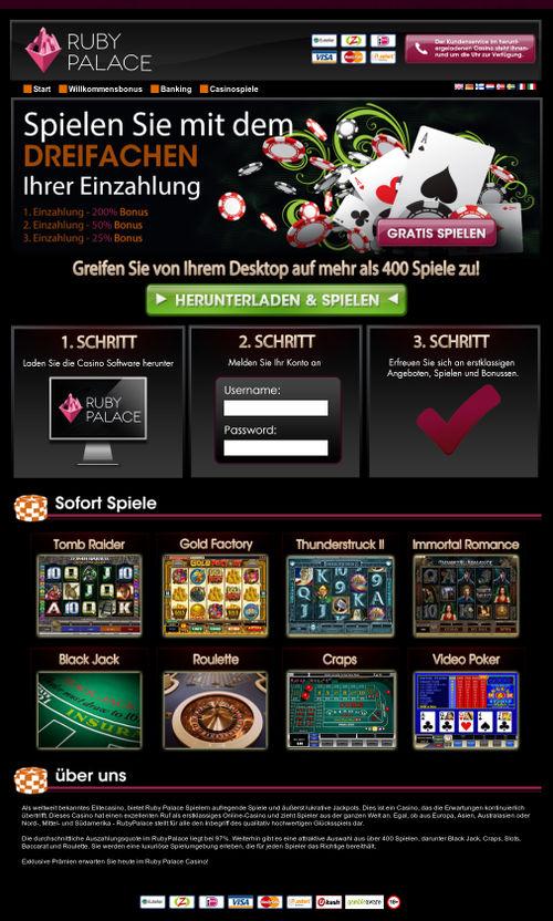Screenshot des betrügerischen, mit Spam beworbenen Casinos 'Ruby Palace'