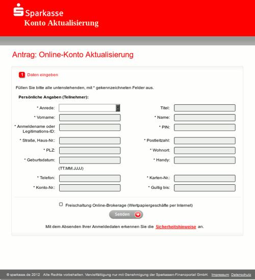 Screenshot der Phishing-Seite