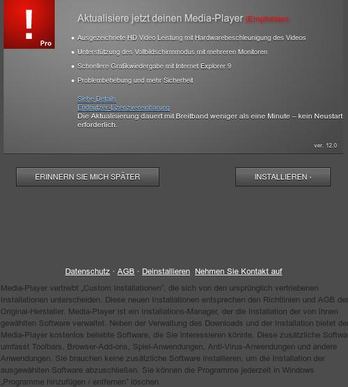 Screenshot der betrügerischen Website: Aktualisiere jetzt deinen Media-Player (Empfohlen)
