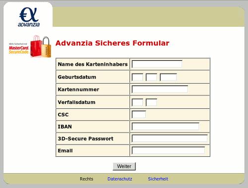 Screenshot des Mailanhanges mit dem betrügerischen Formular