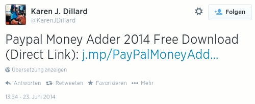 PayPal Money Adder 2014 Free Download (Direct Link): -- Der Link ist über den URL-Kürzer j.mp maskiert