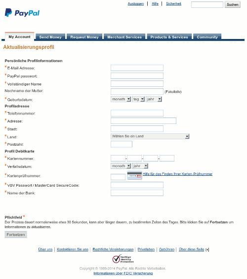Screenshot der Darstellung des betrügerischen Anhangs der Phishing-Spam im Webbrowser