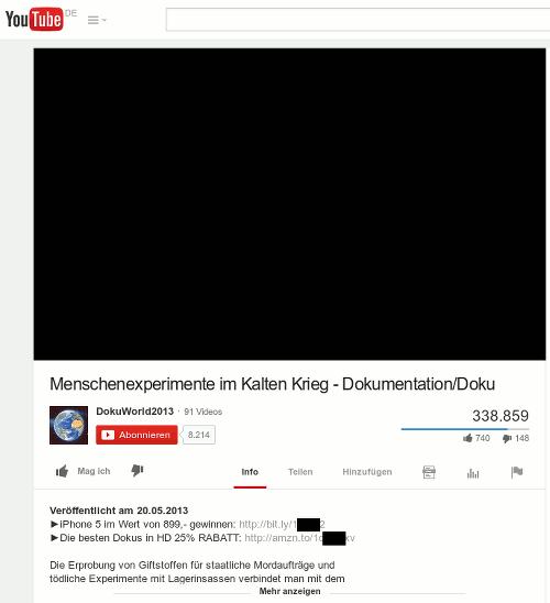 Screenshot eines hochgeladenen Videos im spammigen YouTube-Kanal von DokuWorld2013
