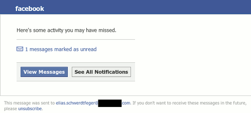 Facebook-Logo -- Here's some activity you may have missed -- 1 Messages marked as unread -- Button: View Messages, Button: See all notifications -- The message was send to xxx. If you don't want to receive these messages in the future, please unsubscribe