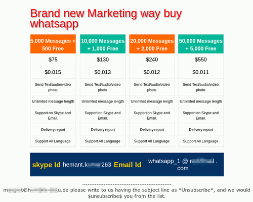 Screenshot einer HTML-formatierten Spam, die für die 'Dienstleistung' wirbt, Whatsapp-Nutzer über Whatsapp vollzuspammen -- Überschrift 'Brand new Marketing way buy whatsapp