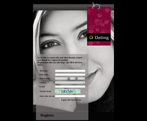 Screenshot der betrügerischen Dating-Site
