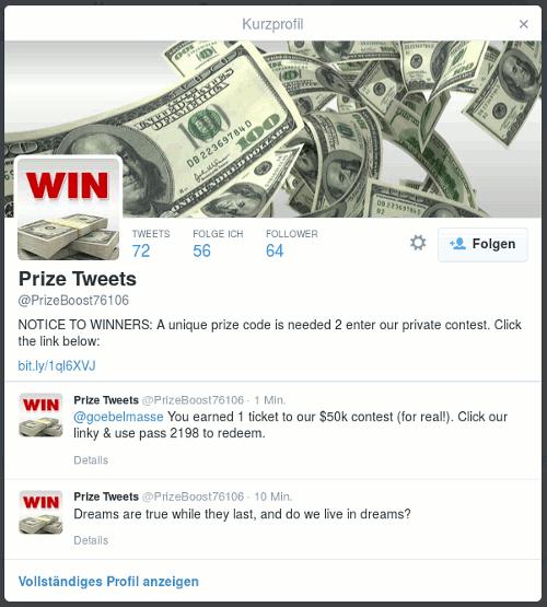 Screenshot vom Kurzprofil des Twitterspammers mit der Aufforderung: NOTICE TO WINNERS: A unique prize code is needed 2 enter our private contest. Click the link below -- gefolgt von einem Link, der unnötigerweise über bit.ly maskiert wurde.
