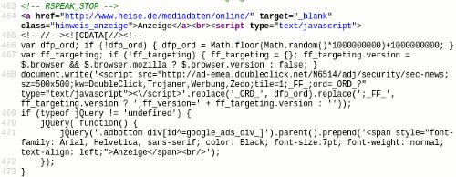 Screenshot meines Editors mit dem Seitenquelltext der oben verlinkten Meldung auf Heise Online. Gezeigt wird der Ausschnitt des Quelltextes, der über JavaScript ein Ad von Doubleclick einbettet.