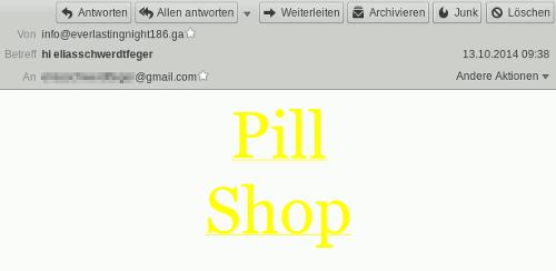 Eine HTML-formatierte Spam, die nur einen kontrastarmen, gelben Linktext 'Pill Shop' auf weißem Hintergrund enthält
