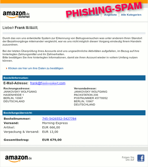 Screenshot der Phishing-Spam