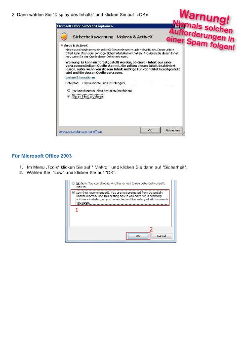 Zweite Seite der angeblichen Faxnachricht aus der Spam