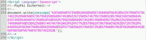 Screenshot eines Details des angehängten HTML-Dokumentes im Editor