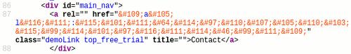 Ausschnitt aus dem HTML-Quelltext der Website des Spammers