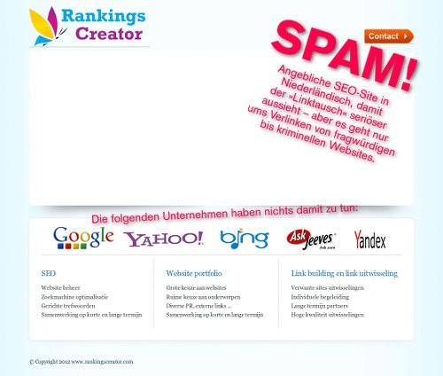Screenshot der betrügerischen Website eines Linktausch-Spammers