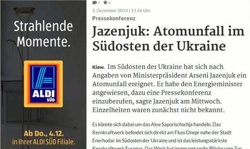 Meldung über einen Atomunfall in der Ukraine -- links davon eine eingeblendete Werbung für Aldi Süd mit dem Text 'Strahlende Momente'